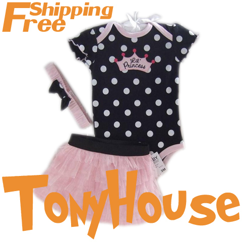 2014 branded new baby girl's cotton polka dot romper; chiffon cake skirt and headband 3 pc set; free shipping