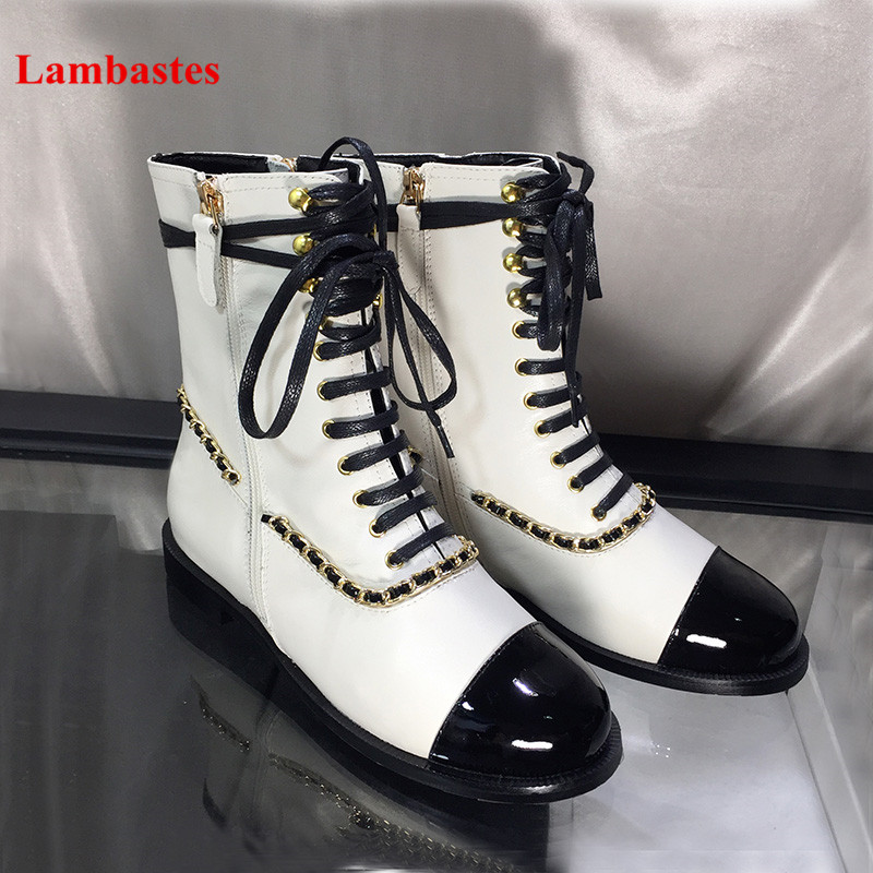 2018 Brand Design Shoes Women Mixed Color Chain Cross-tied Women Martin Boots Zip Leather Ankle Botas Femeninas Casual Shoes simple men s casual shoes with criss cross and color block design
