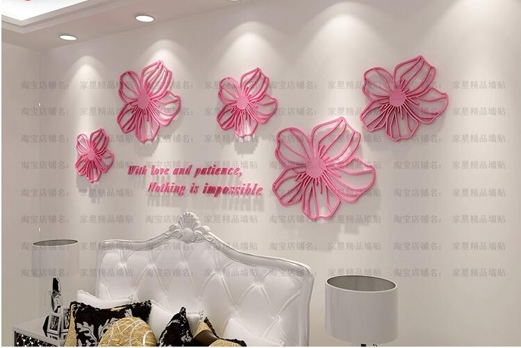 Diy five flowers crystal acrylic 3d three dimensional wall stickers living room tv wall decoration candy color wall stickers in wall stickers from home
