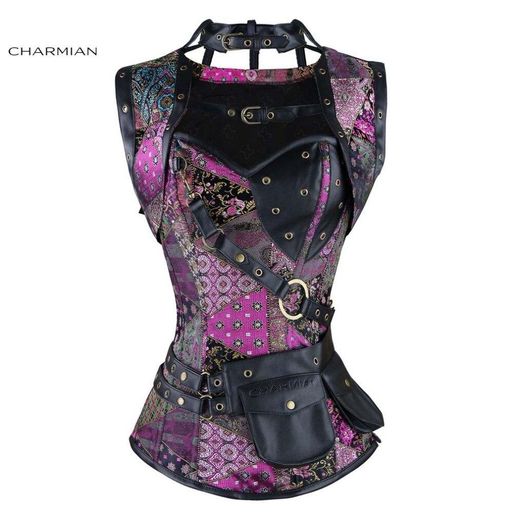 Charmian Women s Plus Size Retro Gothic Steampunk Corset Spiral Steel Boned Green Purple Corset Brocade