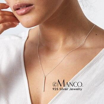 49585a589dde E-Manco clásico de moda de palo colgante collar largo de Plata de Ley 925  Plata enlace cadena cuadrada collares largos collares de joyas para las  mujeres