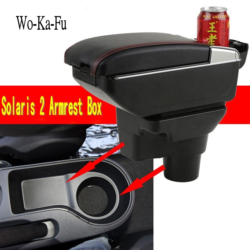 Para Hyundai solaris 2 caixa Armazenar conteúdo caixa braço sotaque novo modelo central suporte de copo cinzeiro interior acessórios 2017 2018