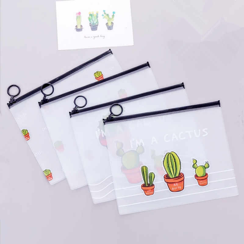 2019 New Arrival Hot Cactus Transparent PVC A5 File Folder Document Filing Bag Stationery Bag for student kids pencil case box