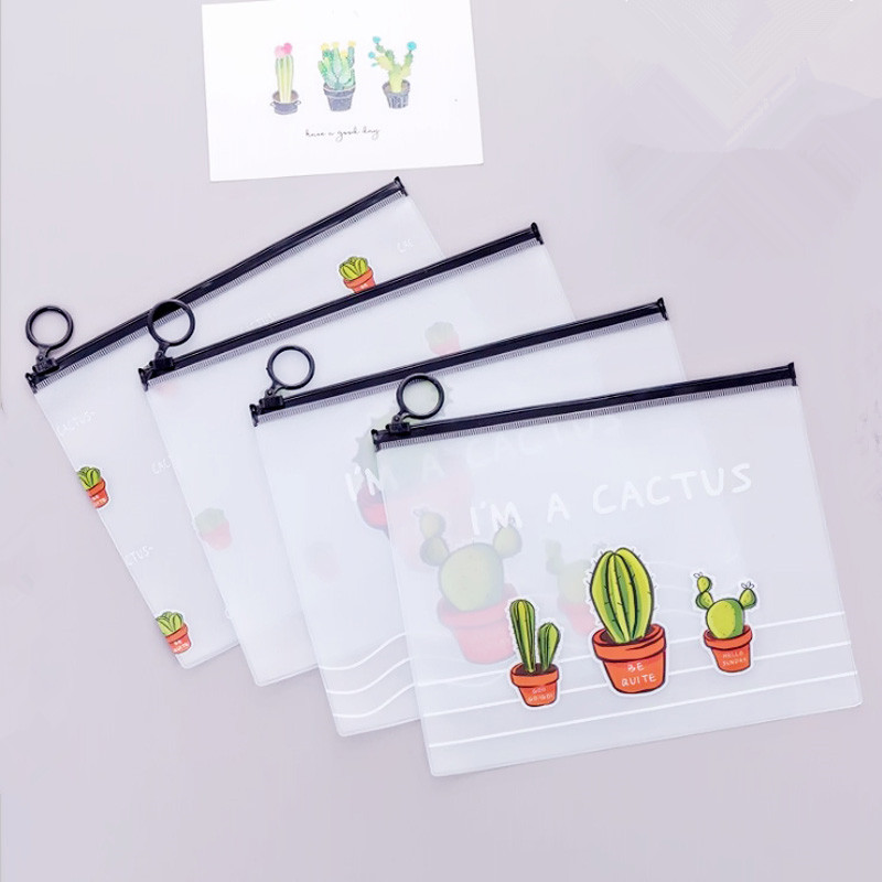 2019 New Cactus Transparent PVC A5 File Folder Document Filing Bag Stationery Bag For Student Kids Pencil Case Box