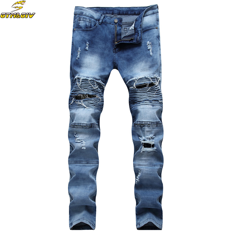 Mens Skinny Biker Jeans Men 2016 Hi Street Ripped Rider Denim Jeans Motorcycle Runway Slim Fit Washed Moto Denim Pants Joggers