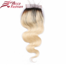wicca fashion Ombre Color 1b/613 Brazilian Non Remy Hair Body Wave 4*4 Lace Closure 100% Human Hair