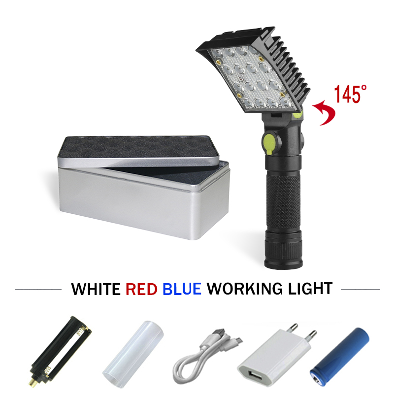 Led Lighting Constructive 16 Led Flashlight Usb 18650 Or Aaa Rechargable Led Torch Lamp Magnet To Free Hands Camping Car Repair Lanterna Led Flashlight To Ensure A Like-New Appearance Indefinably