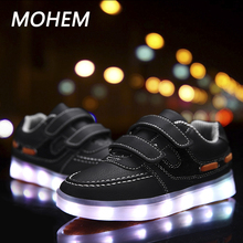 Led Children Shoes 2017 New USB Baby casual shoes With Light Up Kids Casual Boys&Girls Luminous Sneakers Glowing Shoes Kids