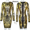 o-neck women fashion season clothing gold foil women bandage fabric women dresses long sleeve