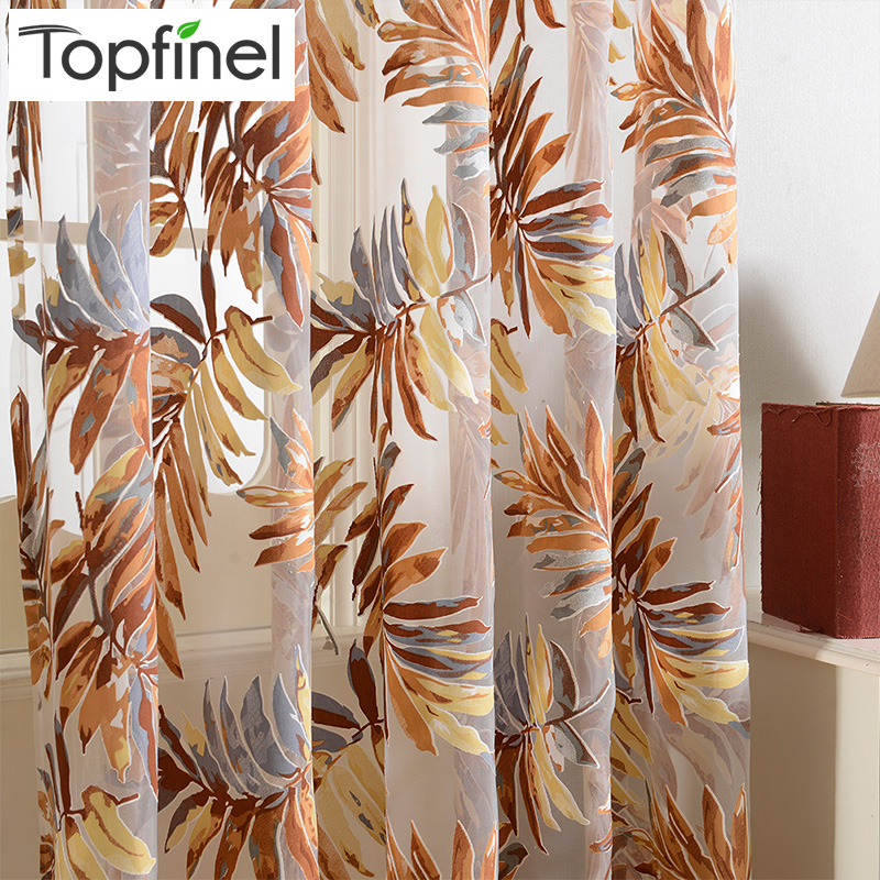 Topfinel Tropical Leaves Broderade Sheer Gardiner för vardagsrum Sovrum Billiga Organza Gardiner Tyll för Window Treatments