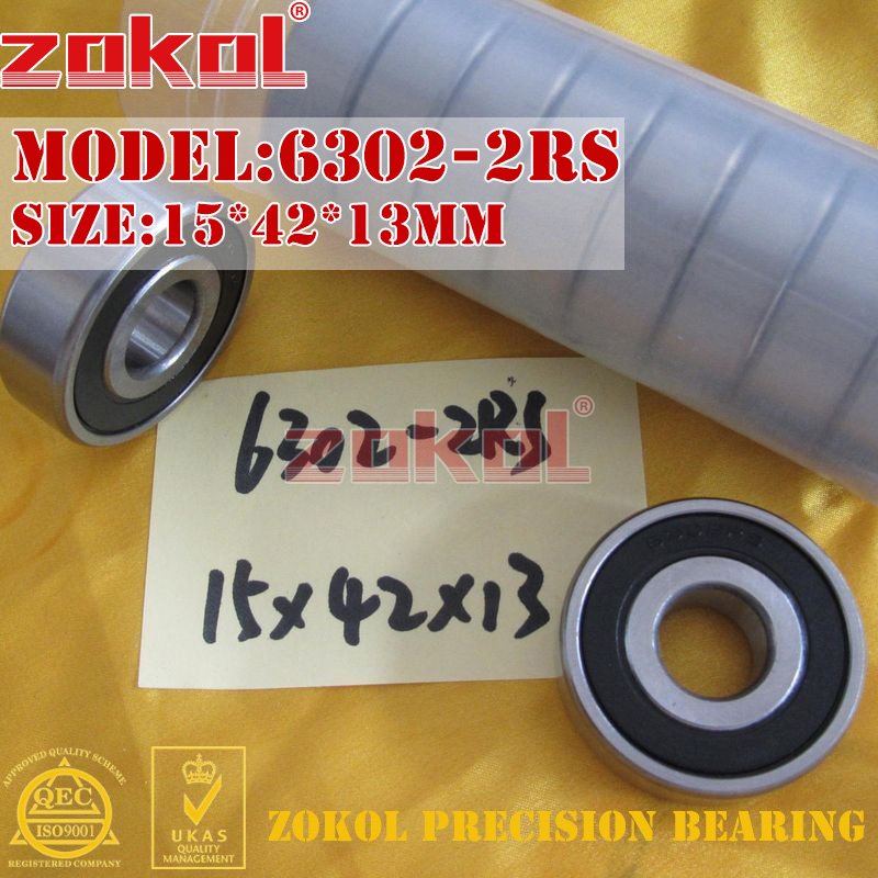 ZOKOL 6302RS bearing 6302 2RS 180302 6302-2RS Deep Groove ball bearing 15*42*13mm zokol 6314 2rs bearing 6314 2rs 180314 deep groove ball bearing 70 150 35mm