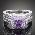 1PCS The new 2-piece combination of purple and zircon Fashion gilded ring jewelry Women get married engagement gifts