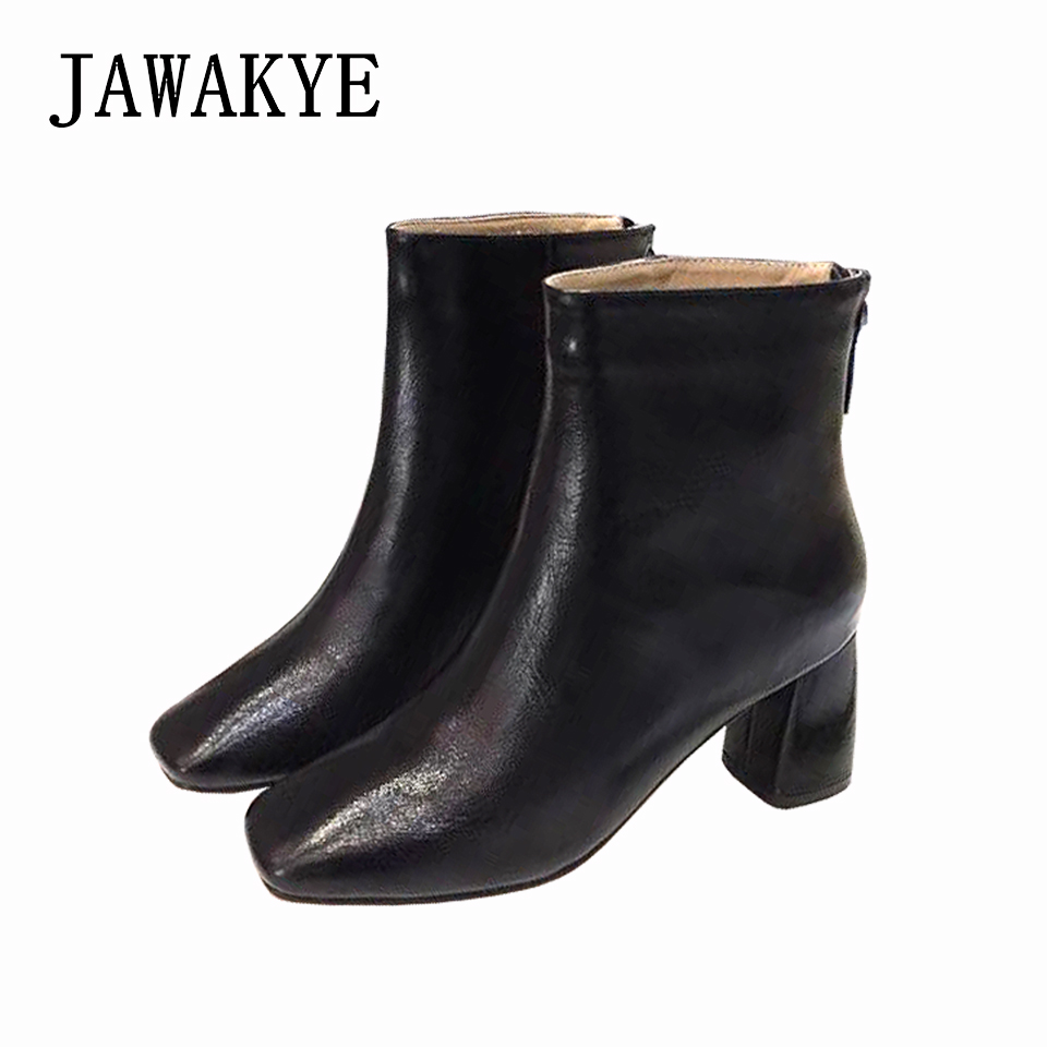 купить Classic Genuine Leather Ankle boots Women Designer Square Toe Comfortable Chunky high heel Black Short booties lady Winter shoes онлайн