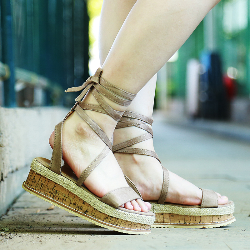 HTB1Xz4jXU rK1Rjy0Fcq6zEvVXa0 Summer White Wedge Espadrilles Women Sandals Open Toe Gladiator Sandals Women Casual Lace Up Women Platform Sandals