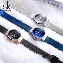 Reloj de pulsera azul Shengke para mujer, relojes de lujo de marca de acero para mujer, relojes de cuarzo para mujer 2020, reloj femenino para mujer