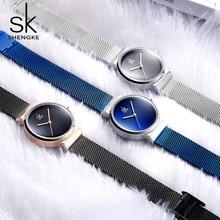 лучшая цена Shengke Blue Wrist Watch Women Watches Luxury Brand Steel Ladies Quartz Women Watches 2018 Relogio Feminino Montre Femme