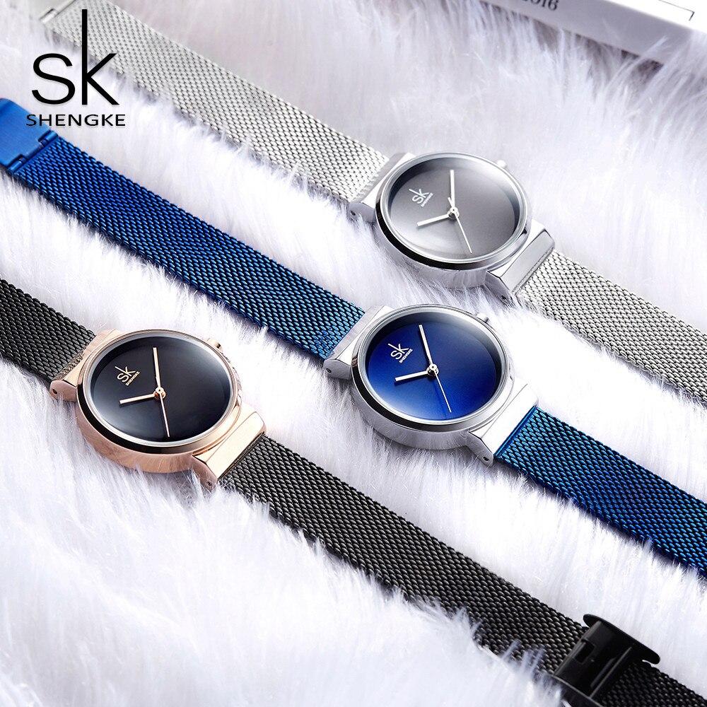 Shengke bleu Montre-bracelet femmes montres de luxe marque en acier dames Quartz femmes montres 2018 Relogio Feminino Montre Femme