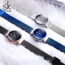 Shengke bleu Montre bracelet femmes montres de luxe marque en acier dames Quartz femmes montres 2020 Relogio Feminino Montre Femme