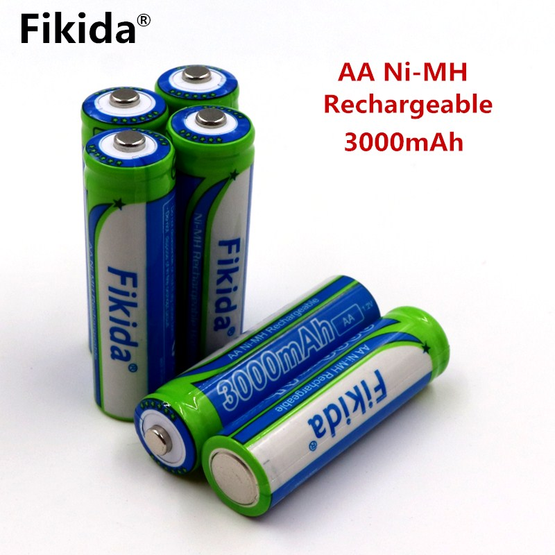 4PCS/New Fikida 1.2V 3000mAh AA NIMH Rechargeable Batteries Ni-MH Rechargeable aa Battery For Toys Camera Microphone стоимость