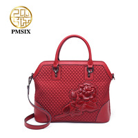 PMSIX Waterproof Embossed Floral Canvas Handbag For Women Large capacity Red Bags Ladies Simple Lingge Inclined shoulder bag
