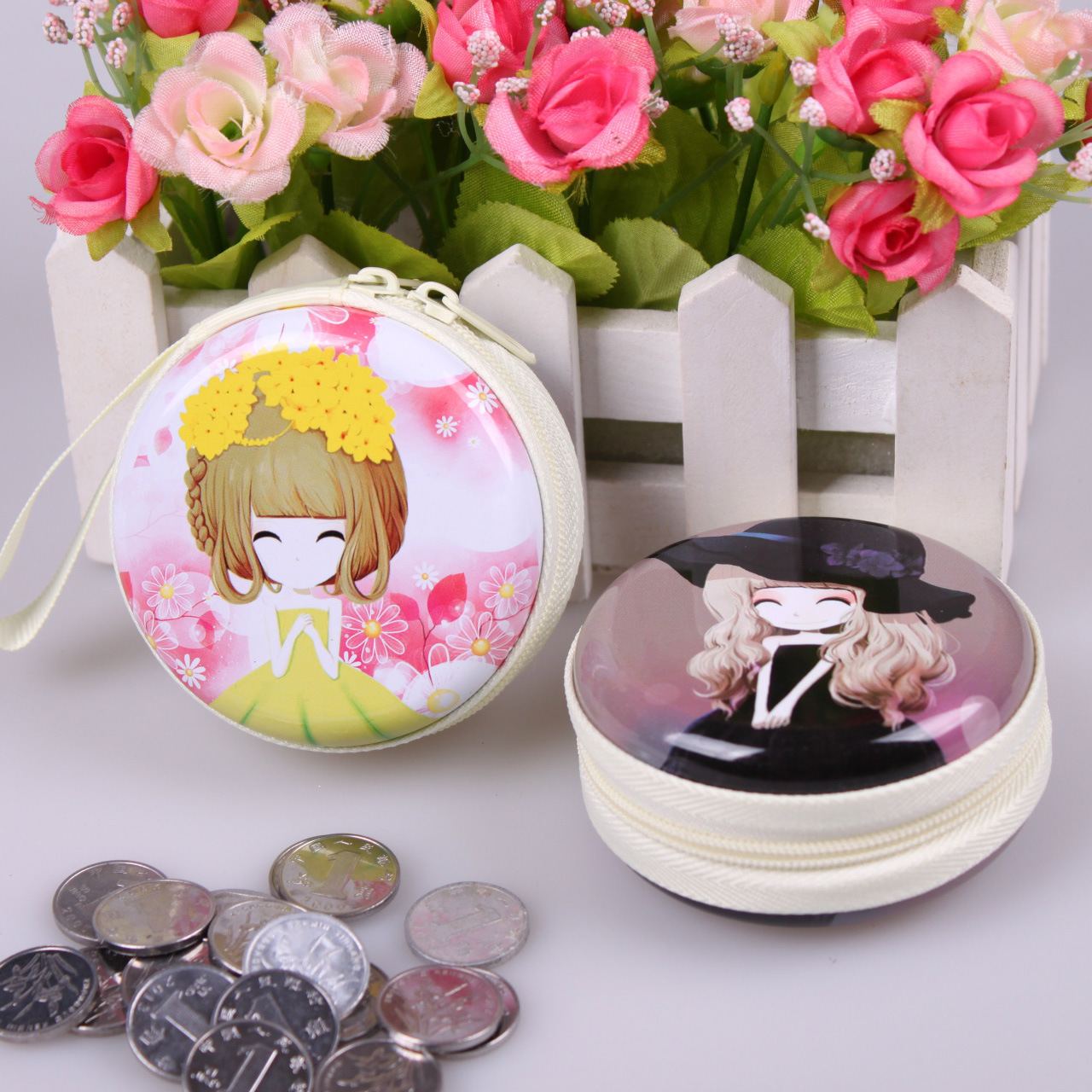 QZH Cartoon Mini Coin Purse Princess Girls Key Case Wallet Children Bag Zipper Kids Baby Girl Change Purse Coin Purses Gifts 2016women coin purses cute girl mini bag key ring case zipper wallet lovely dollar 3d print pouch change purse wholesalecp4024