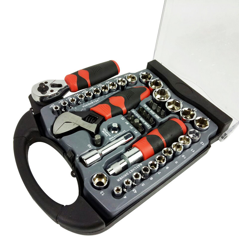 1/4 and 3/8 Drive Stubby Hand Tools Set Socket Wrench Screwdriver Auto Repair Hand Combo Tool With 45pcs mainpoint 1 4 1 2 3 8 e socket sockets set cr v torx star bit combination drive socket nuts set for auto car repair hand tool