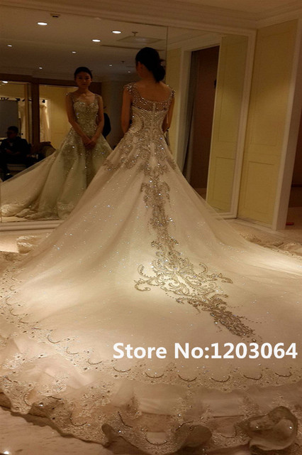 8472ae788 2016 New Fashion Sweetheart White Tulle Royal Train Luxury Crystal Princess Wedding  Dress Hot sale Beading And Appliques Vestido