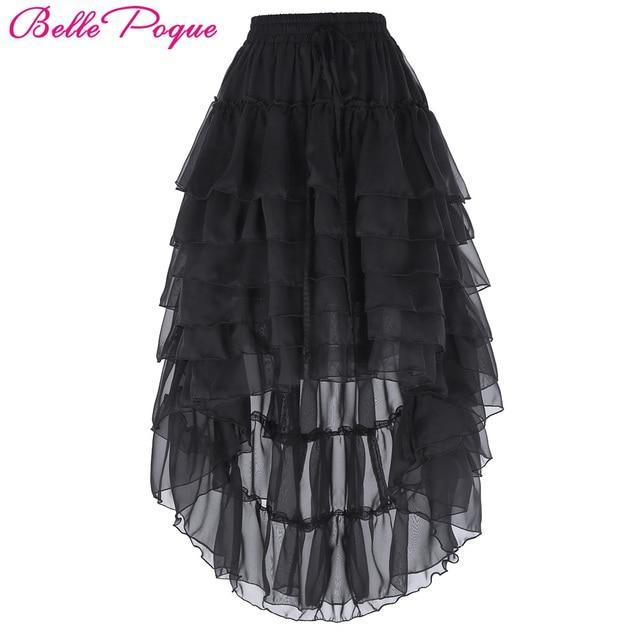 0774170aa980 Belle Poque Steampunk Skirts Womens 2017 Ladies High Low Black Chiffon  Hemline Ruffled Midi Cake Skirt Popular Skirt Free Size