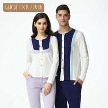 Qianxiu Lovers Cotton Pajamas set modal new spring fits girls pajamas stitching Home Furnishing for couple sleepwear1612