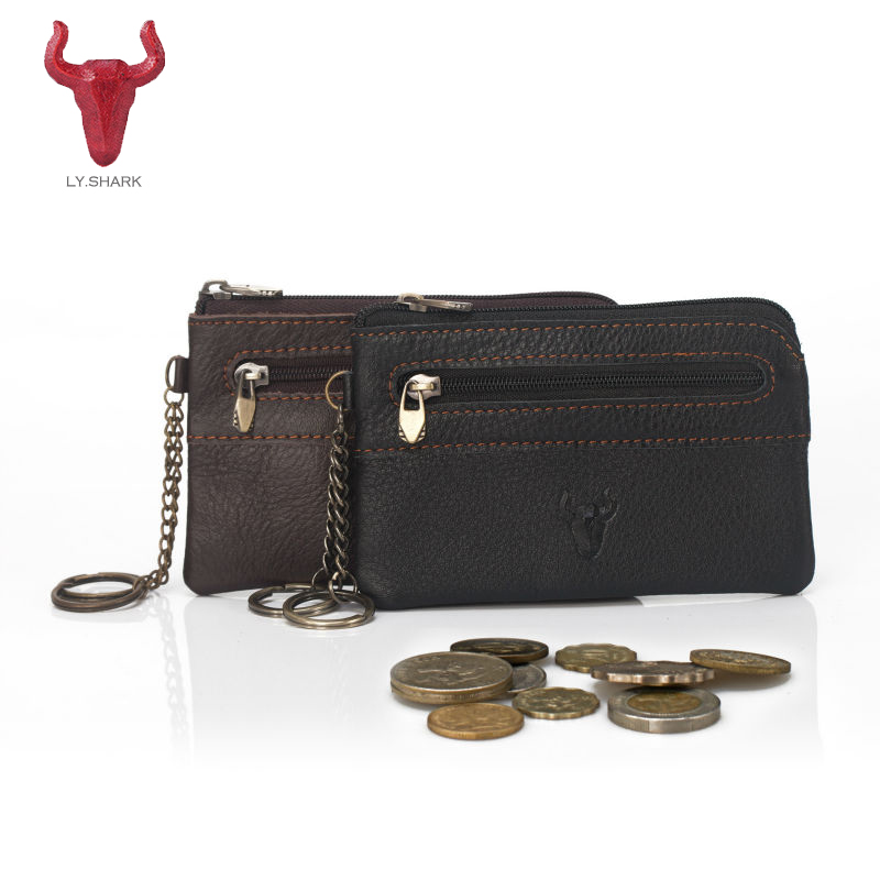 LY.SHARK Genuine Leather Coin Purse Women Wallet men card holder Change Purse Money Bag coin Wallet Key Holder Mini Zipper Pouch