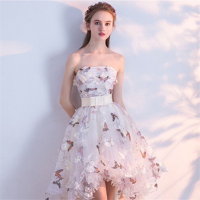 Strapless Pleat Lace Up High-low Asymmetry Vintage Elegant Flowers Taffeta Dress