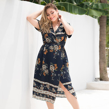 где купить Summer Cross V-neck Empire Tie Short Sleeve Split Positioning Printing Plus Size Mid-Calf Dress Sweater Dress Vestidos дешево