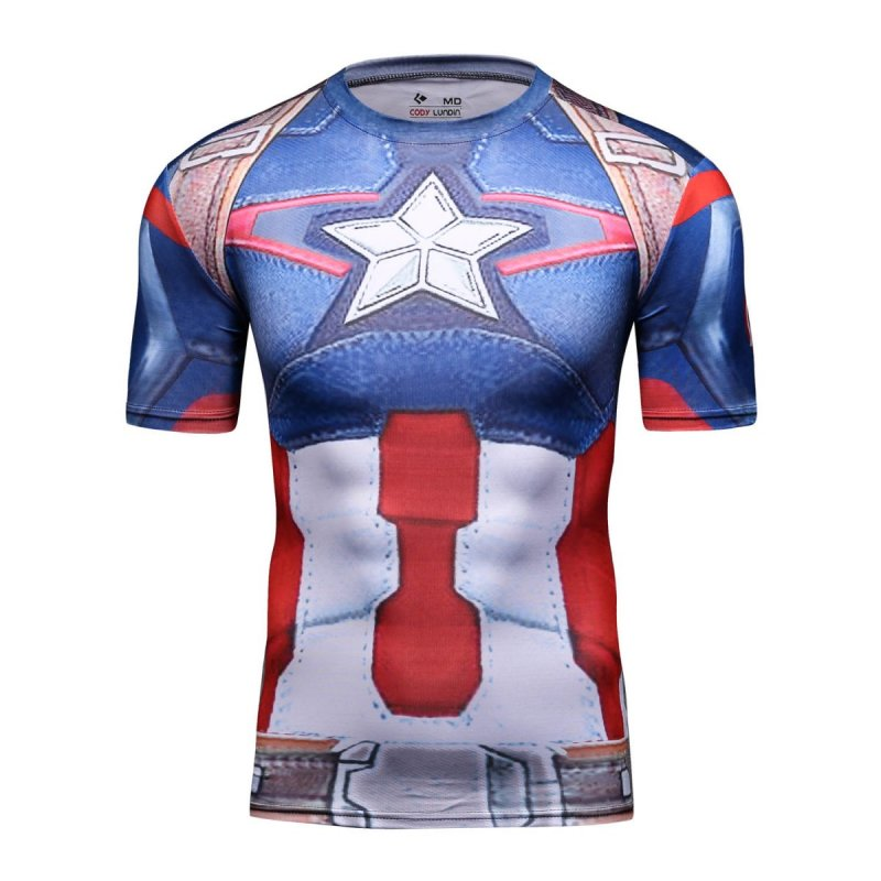 Red Plume Men's Compression Sport Tight Perspiration Training T Shirt Super Hero Captain America  Shirt , Cosplay