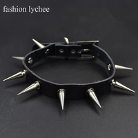 fashion lychee Gothic Punk 3cm Wide Spike Rivet Studs Choker Necklace Sythentic Leather Collar Rock Biker Necklace Jewelry