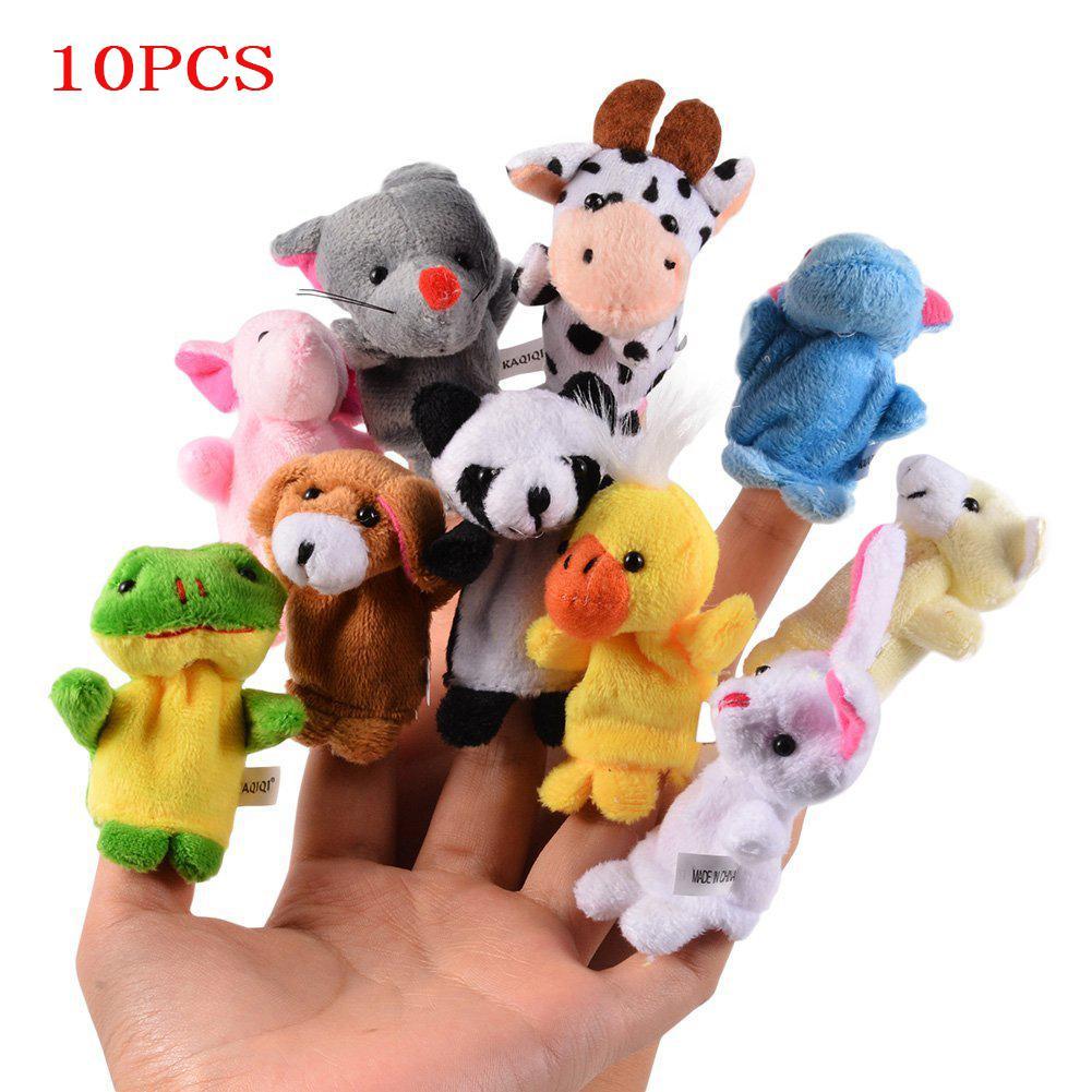 RCtown 10PCS Cute Cartoon Biological Animal Finger Puppet Plush Toys Child Baby Favor Dolls Boys Girls Finger Puppets