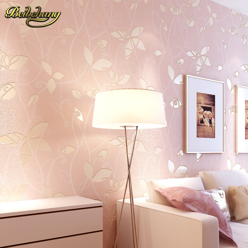 beibehang Non-woven Wallpaper roll leaves pattern wall covering simple wall paper for kids bedrooms blue/pink papel de parede 3D beibehang blue wallpaper non woven