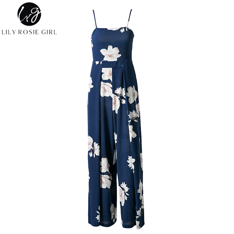 a4abff35403f Lily Rosie Girl Navy Blue Floral Print Backless Jumpsuits Women ...