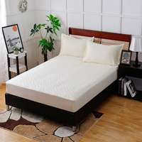 Beige Embossed Cotton Solid Polyester Fiber Fitted Sheet Home Textile Bed Covers Mattress Cover Protector 100x200cm