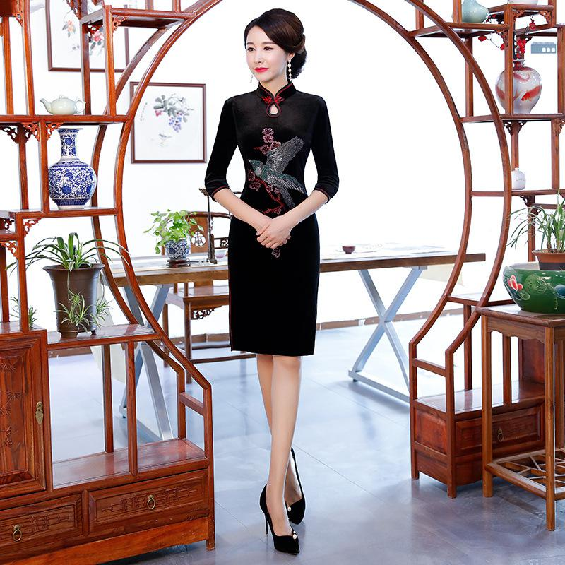 Красное винтажное китайское платье Элегантное Благородное женское вечернее Ципао Vestidos оверсайз 3XL 4XL традиционное азиатское сценическое шоу Cheongsam - Цвет: Style 2