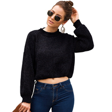 Solid Women Knitted Jacket Casaul O Neck Long Sleeve Crop Top Short Sweater Autumn Winter Loose And Lazy