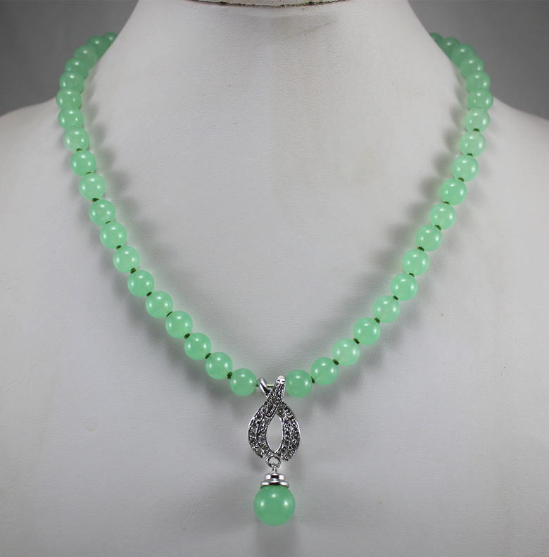 1d8a5f40e wholesale factory price design delicate 8mm jades necklace 12mm pedant fashion  jewelry