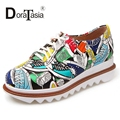 DoraTasia Fashion Geometry Print Lace Up Women Flats Round Toe Platform Spring Autumn Leisure Shoes Woman 2017