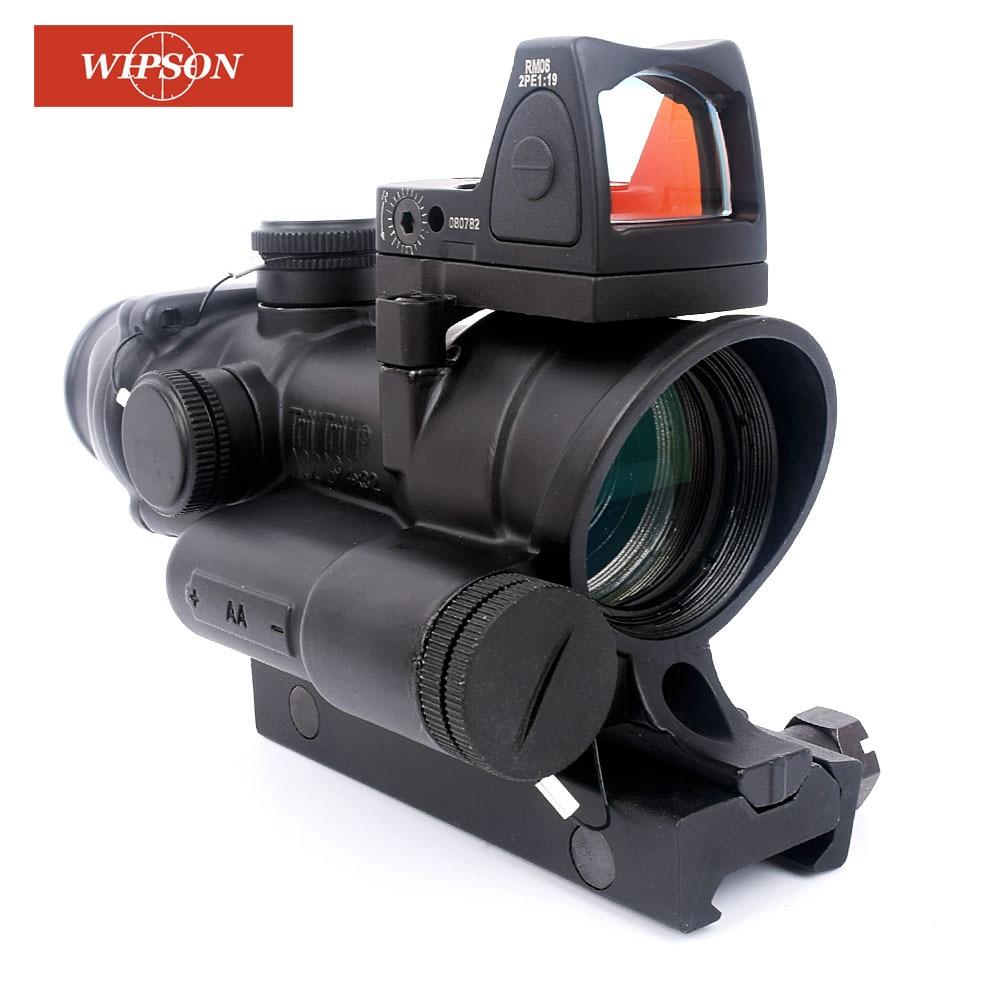 WIPSON Taktische Trijicon ACOG 4x32 LED Umfang HD Anblick Scope Beleuchtete Zielfernrohr Mit Reflex Einstellbar Min Red Dot anblick