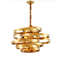Modern Stainless Steel Gold Candelier Circular Chandelier Creative Tornado Atmosphere Light luxury dining room lamp
