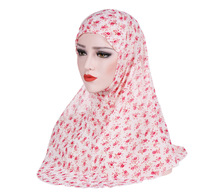 Muslim womens inner hijab printing exotic turban wrap hat coverings chiffon Islam religious Prayer Hats headscarf