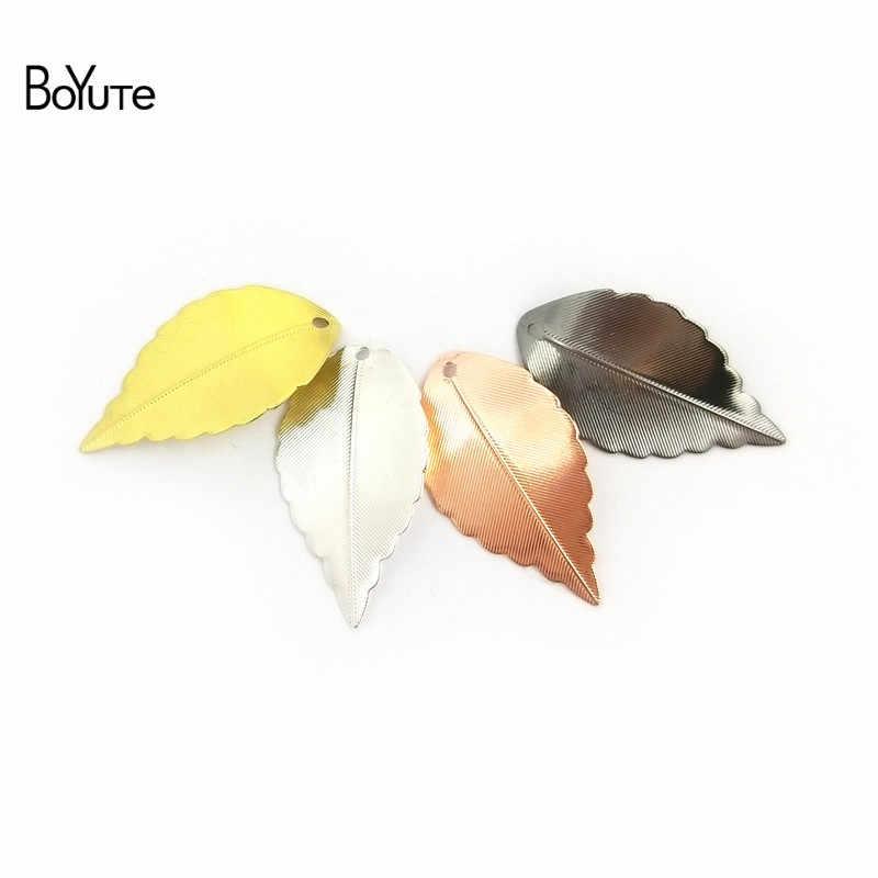 BoYuTe 100Pcs 7 Colors 10*17MM 16*25MM Leaf Charm Metal Brass Scrapbooking & Stamping DIY Jewelry Accessories