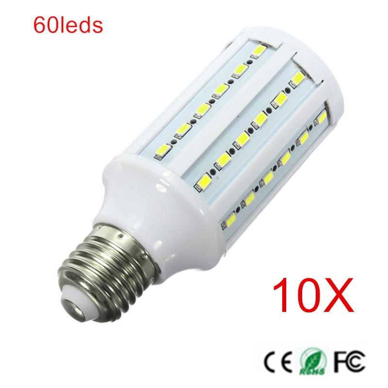High power E27 15W LED lamp 60 led 5630 SMD LED Corn Bulb Light 1400LM AC85-265V AC110V/220V Cool White/Warm White 10PCS zhishunjia e27 3w 280lm 6000k 10 smd 2835 led white light bulb white 85 265v