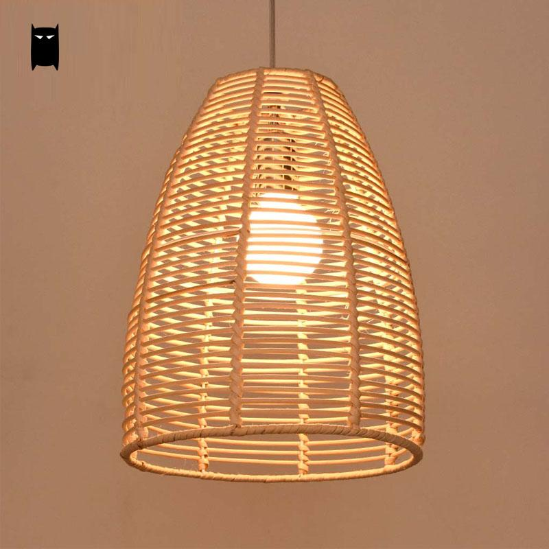 Round Wicker Rattan Bell Pendant Light Fixture Rustic Asian Country Vintage Lamp Avize Luminaria Dining Table Study Room Balcony bamboo wicker rattan bugle shade pendant light fixture rustic vintage hanging lamp design bar study room kitchen balcony hallway
