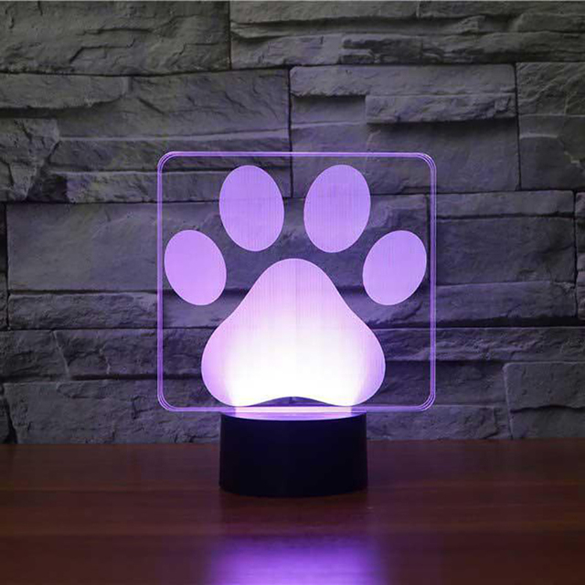 Dog Paw Footprints Modelling 3D Table Lamp LED Colorful Lovely Nightlight Bedroom Decor USB Sleep Lighting Kids Brithday Gifts