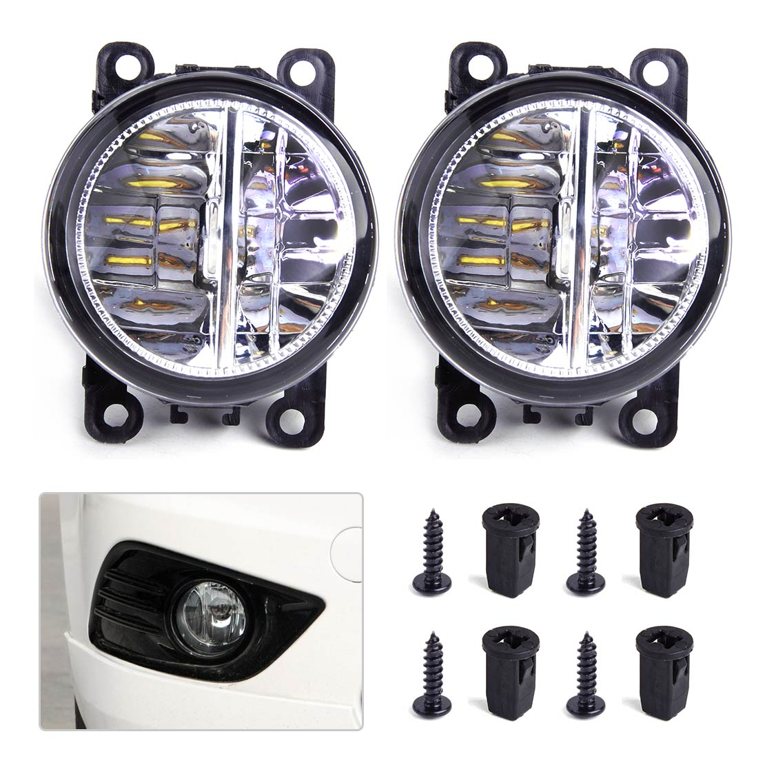 beler 2Pcs Right Left LED Fog Light Lamp 4F9Z-15200-AA 33900STKA11 AC2592111 for Ford Focus Honda Acura Lincoln Nissan Subaru beler fog light lamp h11 female adapter wiring harness sockets wire connector for ford focus fiesta acura nissan honda subaru